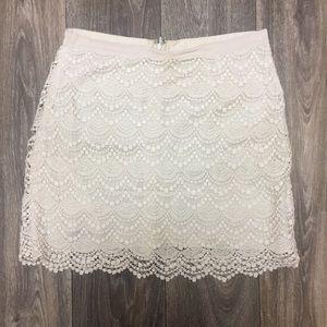 Club Monaco White Lace Scalloped Mini Skirt